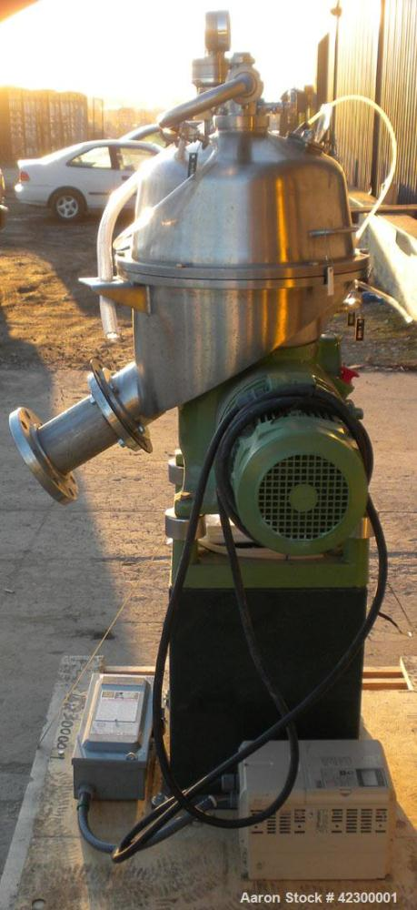 Used- Westfalia SB-7-06-076 Desludger Disc Centrifuge, 316 stainless steel construction on product contact areas, clarifier ...