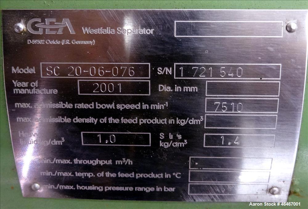 Used- Westfalia SC-20-06-076 Desludger Disc Centrifuge