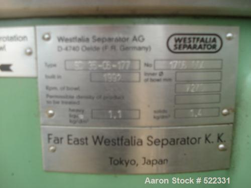 USED: Westfalia high speed clarifying centrifuge, model SC 35-06-177.All wetted parts sanitary stainless steel, 18.5 kw v-be...