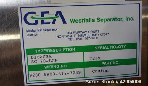 Used- GEA Westfalia SC-70-36-777 Desludger Disc Centrifuge. Stainless steel construction (product contact areas), clarifier ...