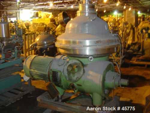 USED: Westfalia CSA160-47-076 clarifier/desludger centrifuge. Materialof construction is 316 stainless steel. (Werkstoff 1.4...