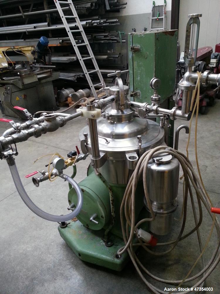 Used- Westfalia SA-14-47-076 Desludger Disc Centrifuge. 316 Stainless steel construction (product contact areas). Maximum bo...