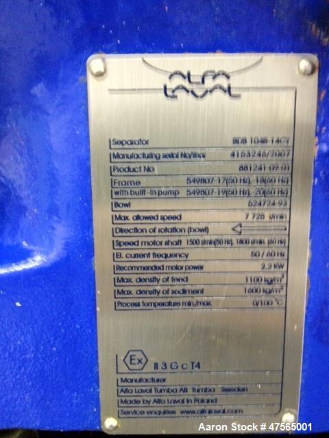 Used- Alfa Laval BDB-104 Solid Bowl Disc Centrifuge