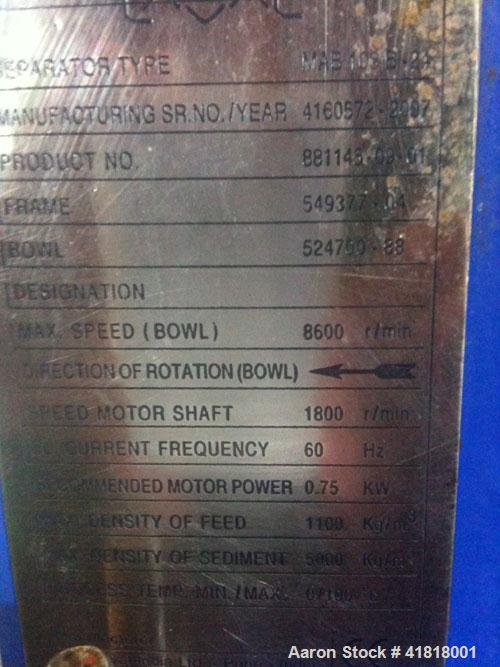 Used-Alfa Laval MAB103B-24-50/4205-1 Solid Bowl Disc Centrifuge. 316 Stainless steel bowl, max bowl speed 8600 rpm, aluminum...
