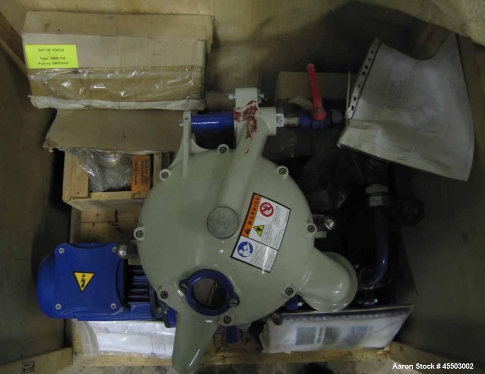 Unused- Alfa Lava MAB-103 Solid Bowl Disc Centrifuge, purifier design, 1 hp TEFC drive motor, 440/3/60, Nema 4.  Both liquid...