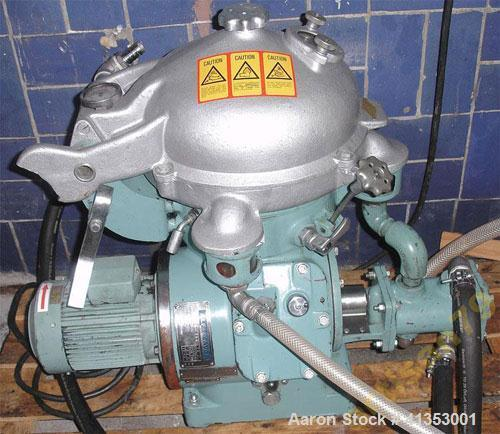 "Used: Alfa Laval MAB-104 Centrifuge. 230 mm (9"") diameter, 1.1 kW (1.5 hp) motor, 700 to 2000 liters/hour. Built 1983."