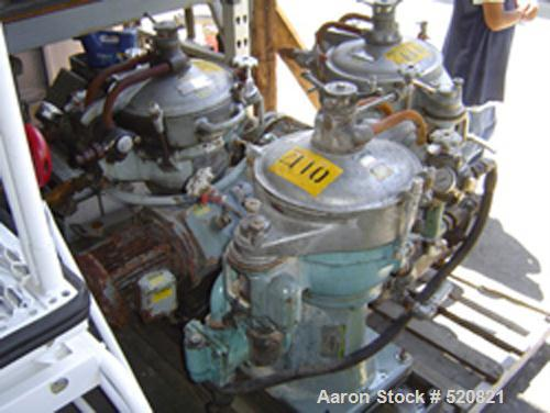 USED: Alfa Laval MAB-2045-24-601404-8-11 solid bowl disc centrifuge. Stainless steel/bronze bowl assembly, aluminum covers, ...