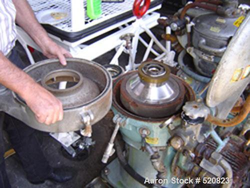 USED: Alfa Laval solid bowl disc centrifuge, MAB-2045-24-601404-8-11. Stainless steel/bronze bowl assembly, aluminum covers,...