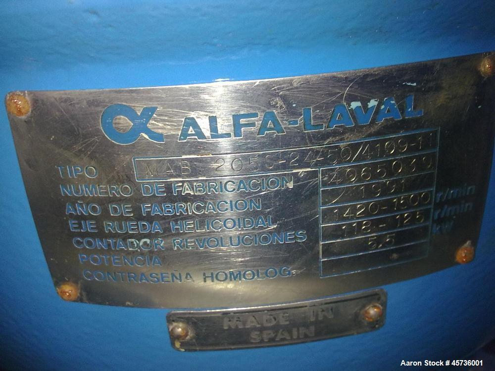 Used- Alfa Laval MAB-205S-20 Solid Bowl Disc Centrifuge