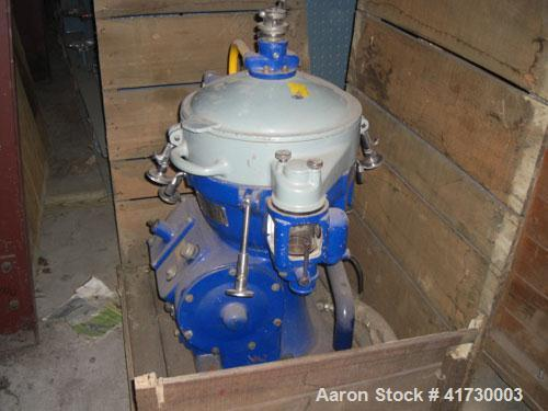 Used-Alfa Laval Solid Bowl Disc Centrifuge, Model MAB 206S-24-60/4022-4. Worm wheel shaft 1700-1800 R/M, revolutions counter...