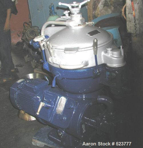 USED: Alfa Laval MAB-206-24-60 solid bowl disc centrifuge. Stainlesssteel/aluminum construction on product contact areas, se...