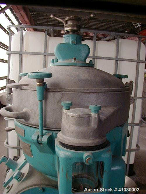 Used-Alfa Laval MAB-207 Solid Bowl Disc Centrifuge. 316 stainless steel/aluminum construction, max bowl speed 5100 rpm, sepa...