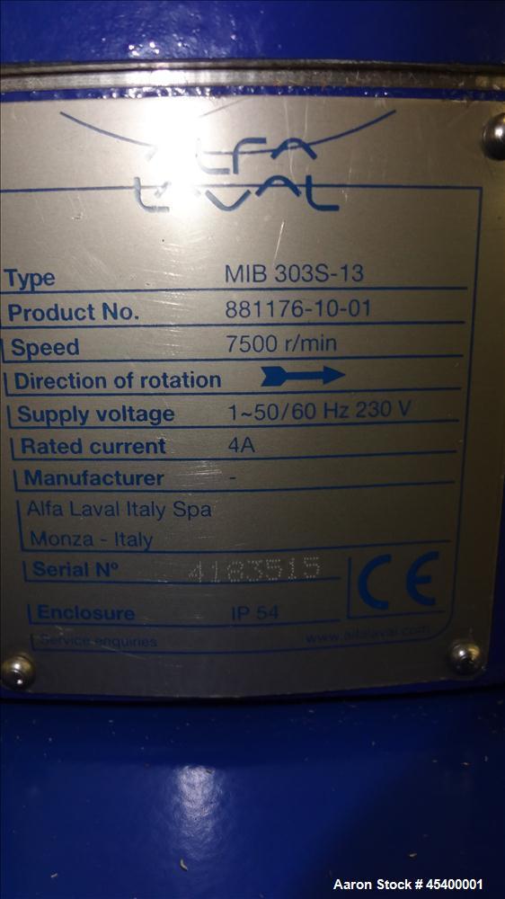 Aluminum Alfa Laval Solid Bowl Disc Centrifuge, MIB-303