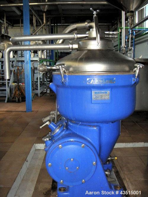 Used-Alfa Laval SRG-214-14HH Solid Bowl Disc Centrifuge, stainless steel on product contact parts, separator design (liquid/...