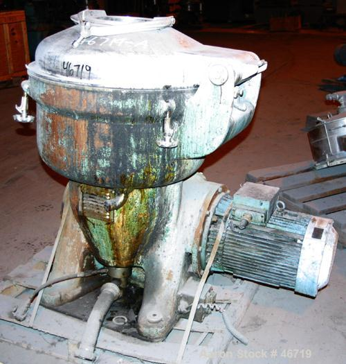 USED: Alfa Laval disc centrifuge, model SRG214H-14H-60/391.9-7. 316 stainless steel product contact areas. Direct driven by ...