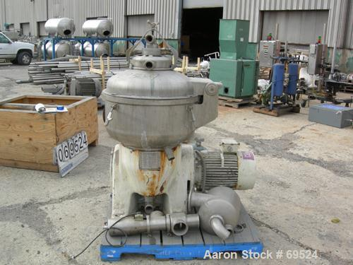Used- Stainless Steel Alfa-Laval Solid Bowl Disc Centrifuge, Model TGV-214H