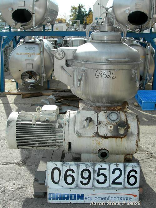 USED: Alfa-Laval model TGV-214H solid bowl disc centrifuge, 316 stainless steel construction (product contact areas). Separa...