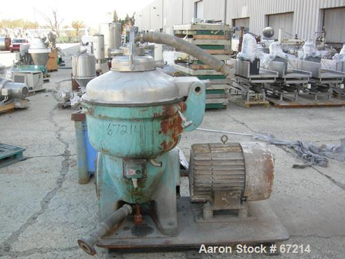 USED: Alfa Laval TVB-214H-15-21-60 solid bowl disc centrifuge. 316 stainless steel construction, separator design, coupled d...