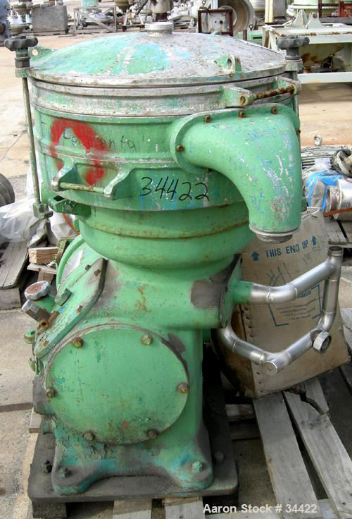 USED: Alfa-Laval VIB-1919FE oil purifier, 304 stainless steel. Max bowl speed 1500 rpm, 7.5 hp motor, 380/3/50/1440 rpm. No ...