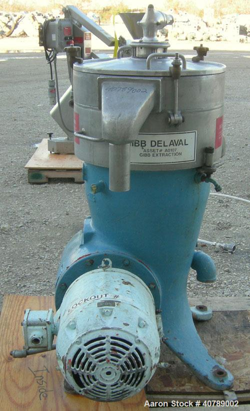 Used- Stainless Steel Delaval Solid Bowl Disc Centrifuge