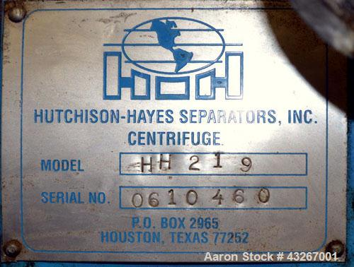 Stainless Steel Hutchison Hayes Solid Bowl Disc Centrifuge, HH-219