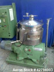 Used- Westfalia BKA-28-86-076 Solid Bowl Disc Centrifuge. 316 stainless steel construction (product contact areas), max bowl...