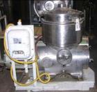 Used-Westfalia BKA-25-86-576 solid bowl disc centrifuge. Stainless steel on product contact areas. Max bowl speed 66,000 rpm...