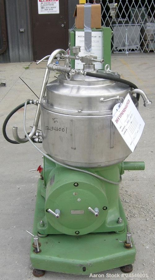 Used- Westfalia BKA-25-86-076 Solid Bowl Disc Centrifuge, 316 Stainless Steel Construction (product contact areas). Maximum ...