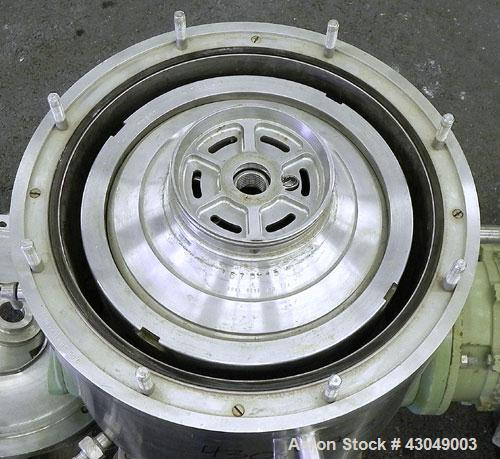 Used- Westfalia BKA-6-86-076 Solid Bowl Disc Centrifuge, 316 Stainless Steel. Maximum bowl speed 8510 rpm, direct drive conf...