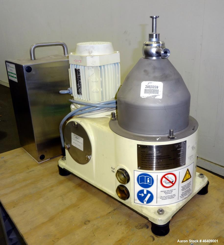 Used- GEA Westfalia CTC-1-06-107 Solid Bowl Disc Centrifuge. 316 Stainless steel (product contact areas). Maximum bowl speed...