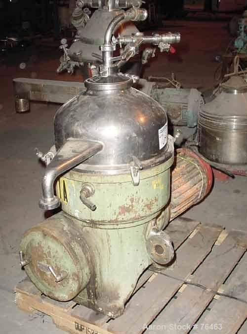 Used- Westfalia D-OOP-8006 Solid Bowl Disc Centrifuge. 316 Stainless steel construction on product contact areas. Maximum bo...