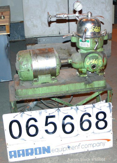 Used- Stainless Steel Westfalia Solid Bowl Disc Centrifuge, KA-1-06-525