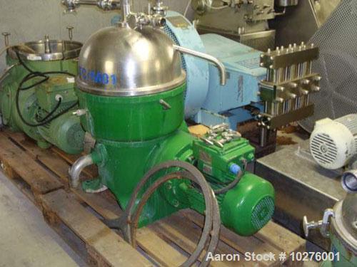 Used- Westfalia Chamber Bowl Disc Centrifuge, KA-25-86-076