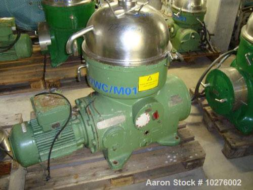 Used-Westfalia KA25-86-076 Chamber Bowl Disc Centrifuge, . Material of construction is stainless steel on product contact pa...