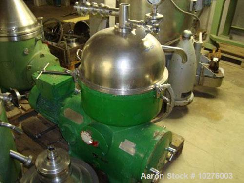 Used-Westfalia KA25-86-076 Chamber Bowl Disc Centrifuge. Material of construction is stainless steel on product contact part...