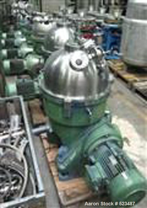 USED: Westfalia chamber bowl separator, type KA-25-86-076. Material of construction is stainless steel on product contact pa...
