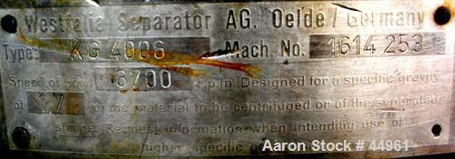 Used- Stainless Steel Westfalia Chamber Bowl Centrifuge, KG-4006