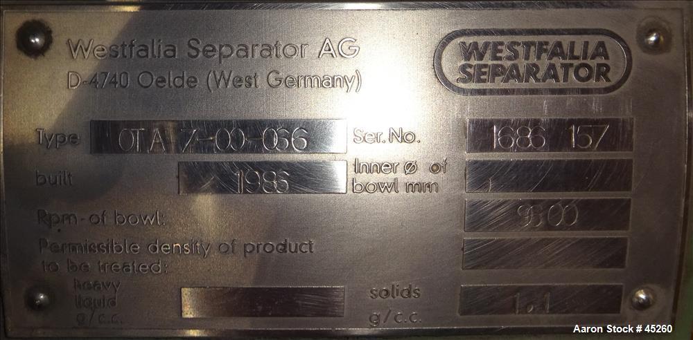 Used- Stainless Steel Westfalia Disc Centrifuge, Model OTA-7-00-066