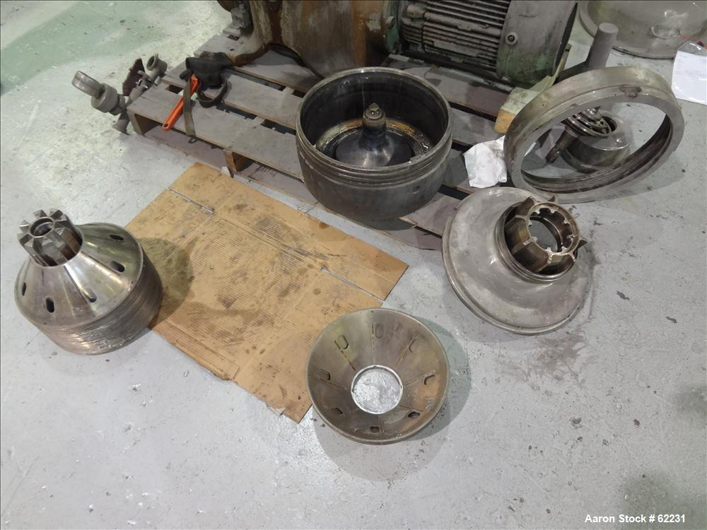 Used- Stainless Steel Westfalia Solid Bowl Disc Centrifuge, TA-40-01-156