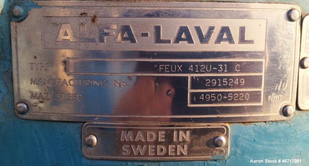 Used- Alfa Laval FEUX-412U-31C Nozzle Disc Centrifuge.