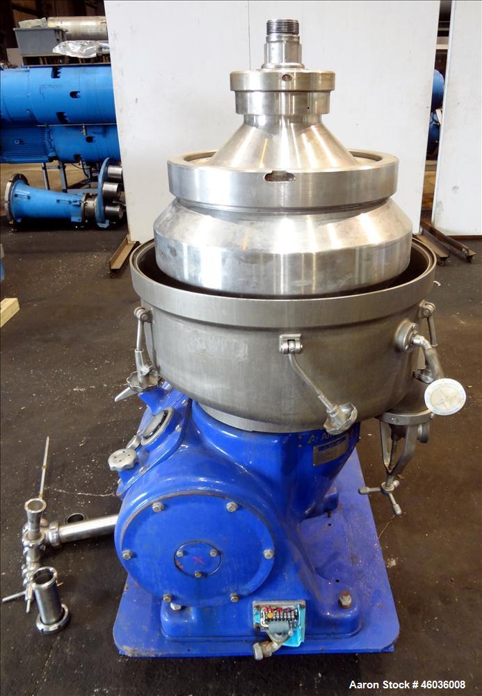 Used- Alfa Laval FEUX-412U-35-60 Nozzle Disc Centrifuge 316 Stainless Steel Construction, (3) Clarifier Design (liquids/soli...