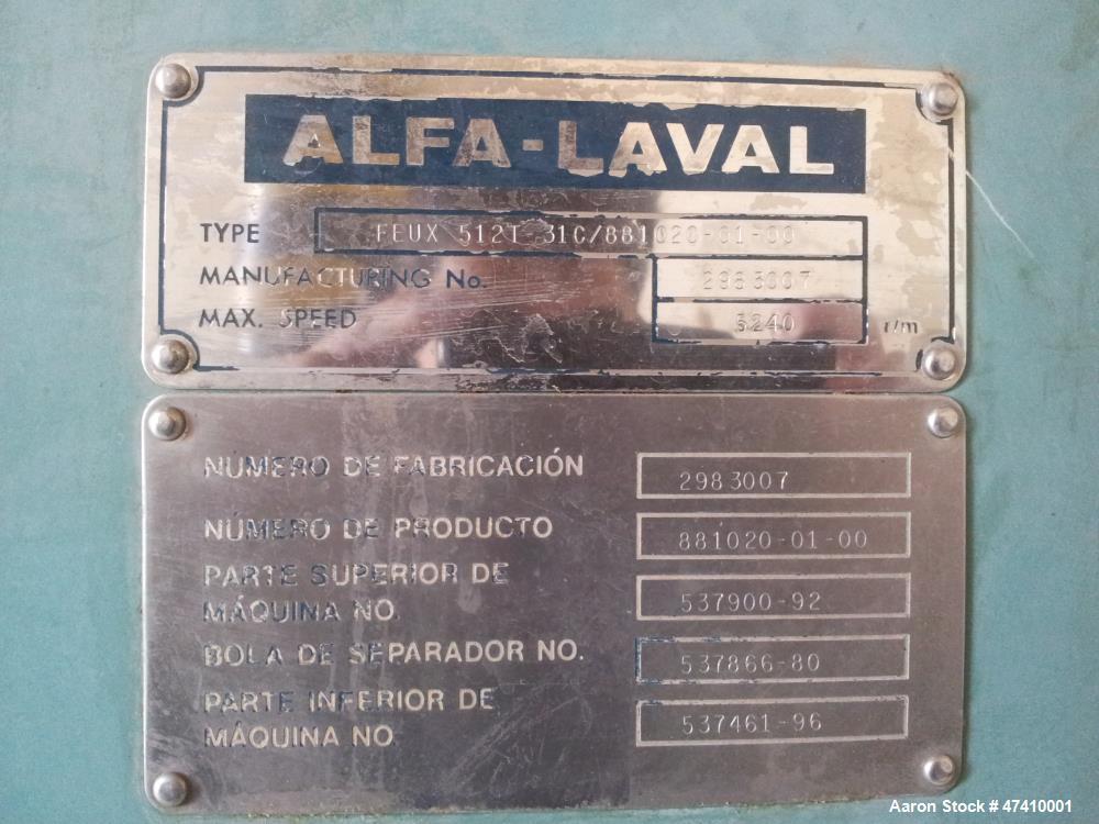 Used- Alfa Laval FEUX-512T-31C Nozzle Disc Centrifuge