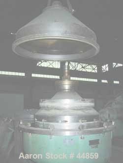 Used- Alfa Laval SPQX-512S-31CG-60 Nozzle Centrifuge. 60 HP motor 3/60/460, belt driven, upper piping, base and sub-base. Ma...