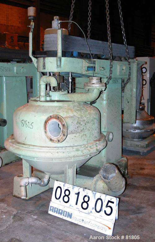 USED: Dorr Oliver Merco B-30 Nozzle Disc Centrifuge. 317 stainless steel rotor assembly, max bowl speed 2550 rpm, bronze hou...