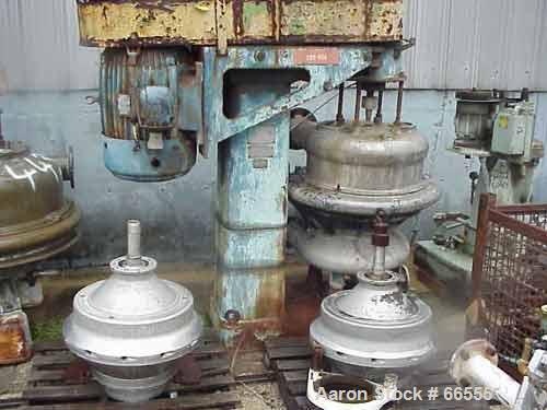 USED: Dorr Oliver C-20 nozzle disc centrifuge, 316 stainless steel construction. Max bowl speed 1800 rpm, stainless steel up...