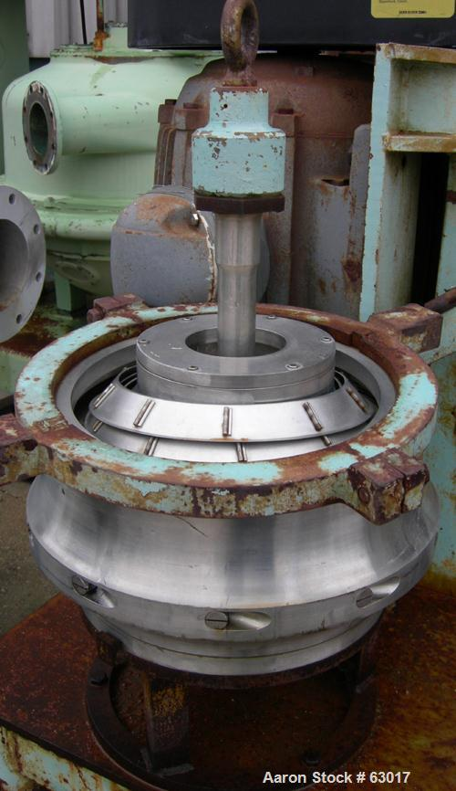 Used- Dorr Oliver CSU-14 Nozzle Disc Centrifuge. 316 Stainless steel construction, maximum bowl speed 6100 rpm, skimmer asse...