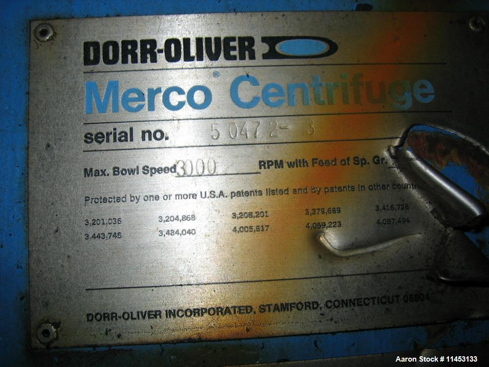 Used- Stainless Steel Dorr Oliver Merco Nozzle Disc Centrifuge