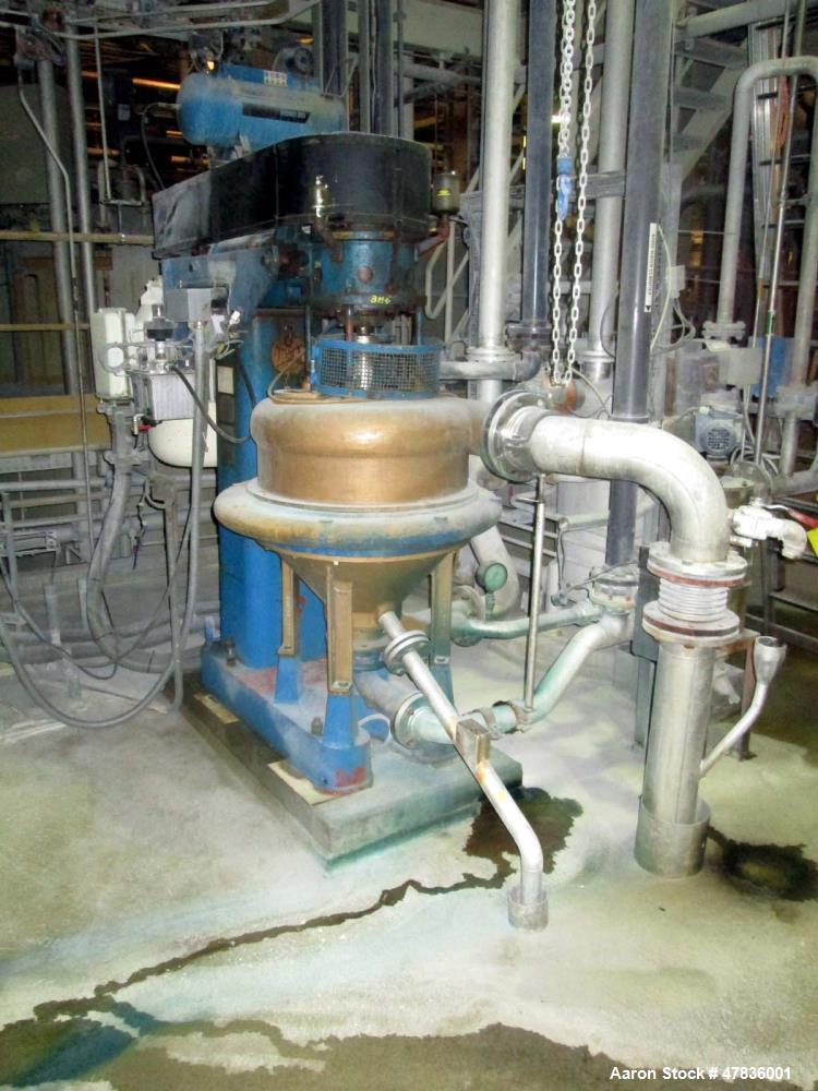 Used- Dorr Oliver/Merco BH-20-GT Nozzle Disc Centrifuge. Stainless steel rotor assembly, max bowl speed 4750 rpm, bronze hou...