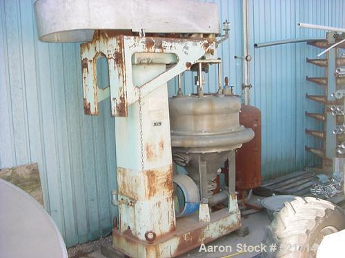 USED: Dorr Oliver/Merco BH-20 nozzle disc centrifuge, stainless steel rotor assembly, bronze casing, base/hoist, air tank, m...