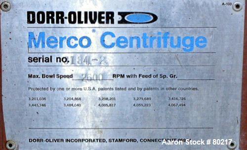 Used- Dorr Oliver Merco Nozzle Disc Centrifuge